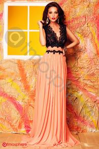Rochie lunga tul portocaliu si bust negru din dantela Rn 205