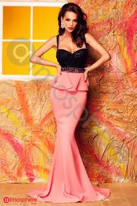 Rochie lunga roz din lycra si bust negru din dantela Rn 207
