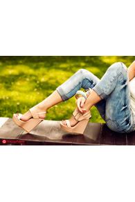 Sandale cu talpa ortopedica nude lacuite cu catarama aurie YX-W4n