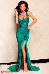 Rochie lunga lycra turquoise cu dantela Rn 227
