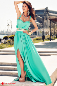 Rochie lunga lycra turquoise cu centura din saten cu lant auriu Rn 275