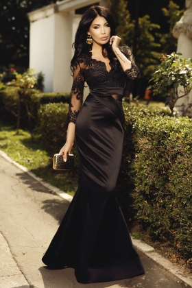 Rochie lunga neagra cu dantela la bust Rn 2023
