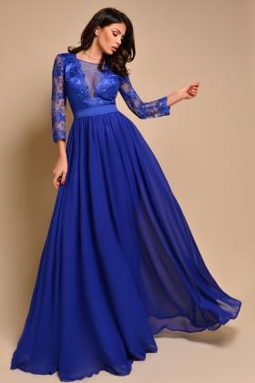 Rochie lunga albastra cu bust din dantela Rn 2107a
