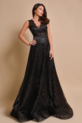 Rochie lunga eleganta neagra cu bust din dantela RN 2572