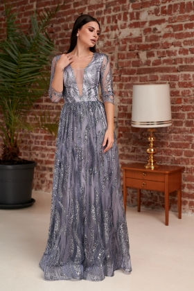 Rochie lunga eleganta argintie cu tul paietat Rn 2596