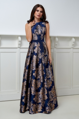 Rochie lunga brocard bleumarin cu imprimeu floral Rn 2606