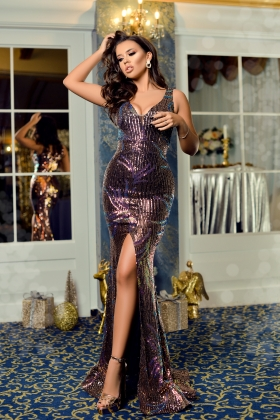Rochie lunga paiete colorate Rn 2612
