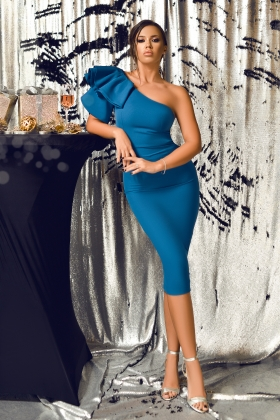 Rochie midi turquoise cu volane Rn 2614