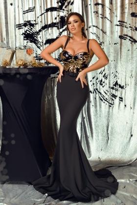 Rochie lunga neagra cu paiete aurii la bust Rn 2610