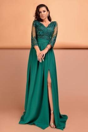 Rochie lunga verde cu dantela la bust Rn 2518