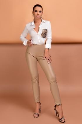 Pantalon bej din piele ecologica PL 929BJ