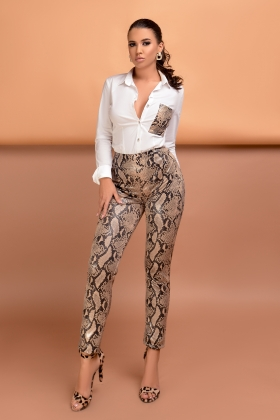 Pantalon piele ecologica imprimeu sarpe PL 1031