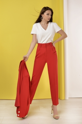 Pantaloni eleganti rosii P 984rn