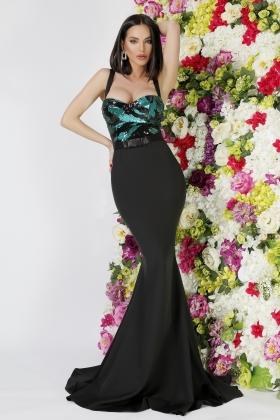 Rochie lunga neagra cu paiete verzi la bust Rn 2663