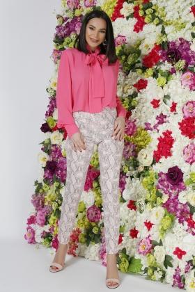Pantalon piele ecologica imprimeu snake roz PL 1031r