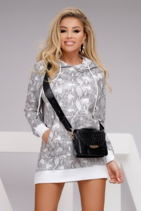Rochie casual scurta tricot  C 7555k Hanorac bumbac snake H08