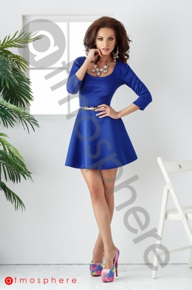 Promotie Outlet: Rochie scurta baby-doll albastra Rn 117