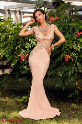 Rochie lunga aurie RN 1827A Rochie lunga lycra roze pudra si broderie aurie  Rn 344