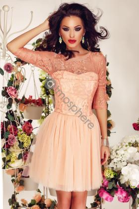 Rochie lunga saten roz si colier margele Rn 2024 Rochie baby-doll dantela si tul somon Rn 586