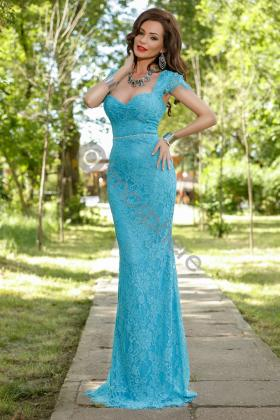 Rochie lunga broderie aurie si voal creponat lila Rn 176l Rochie lunga dantela turquoise Rn 751