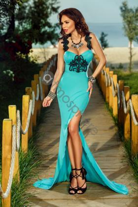 Rochie lunga dantela verde si tul mint Rn 1755 Rochie lunga lycra turquoise cu broderie neagra Rn 775