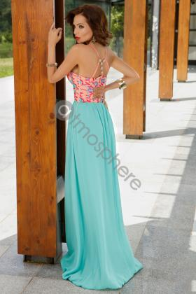Rochie baby-doll aurie Rn 1913 Rochie lunga dantela si voal turquoise Rn 779