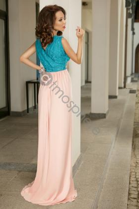 Rochie midi fistic Rn 873 Rochie lunga dantela turquoise si lycra rose Rn 784