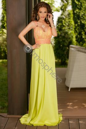Rochie lunga din voal vernil si dantela portocalie Rn 800 Atmosphere-Fashion