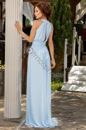 Rochie scurta turquoise Rn 1661 Rochie lunga voal bleu si broderie florala in talie Rn 835
