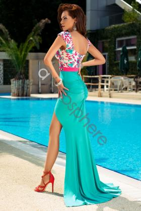 Rochie baby-doll paiete si catifea mov Rn 1035 Rochie lunga lycra turquoise cu dantela la bust Rn 855