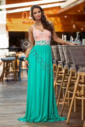 Rochie lunga broderie aurie si voal creponat lila Rn 176l Rochie lunga lycra verde si dantela rose Rn 870