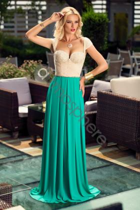 Rochie baby-doll tul nude si saten rosu Rn 2324 Rochie lunga voal verde si dantela aurie la bust Rn 876