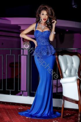 Rochie lunga dantela si voal turquoise Rn 779 Rochie lunga lycra albastra si dantela bust Rn 765a
