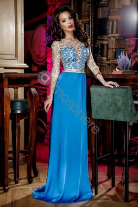 Rochie lunga dantela si voal turquoise Rn 779 Rochie lunga broderie aurie si matase albastra Rn 176a