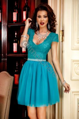 Rochie lunga neagra cu bust din dantela aurie Rn 935 Rochie baby-doll dantela turquoise si tul Rn 963