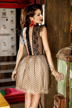 Rochie lunga broderie aurie si voal creponat lila Rn 176l Rochie baby-doll tul nude cu buline si dantela Rn 936