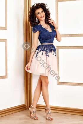 Rochie lunga broderie aurie si voal creponat lila Rn 176l Rochie baby doll din dantela bleumarin si tull roze  Rn 1063