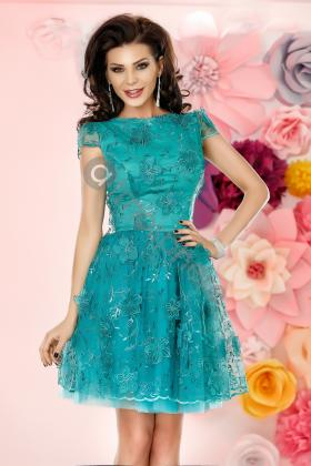 Rochii scurte Rochie baby-doll dantela 3D verde turquoise Rn 1103