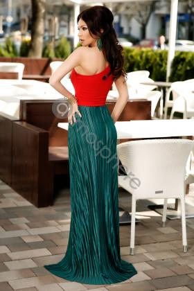 Rochie midi turquoise din satin Rn 2450 Rochie lunga crep verde cu broderie florala Rn 1172