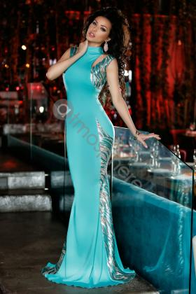 Rochie lunga lycra roze Rn 1225 Rochie lunga turquoise cu paiete Rn 1188