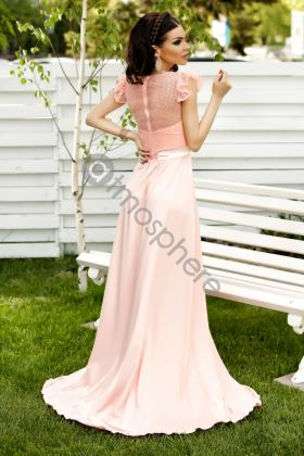Rochie lunga saten roz si colier margele Rn 2024 Rochie lunga lycra roze Rn 1225