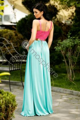 Rochie lunga saten roz si colier margele Rn 2024 Rochie lunga lycra turquoise cu dantela ciclam Rn 1238