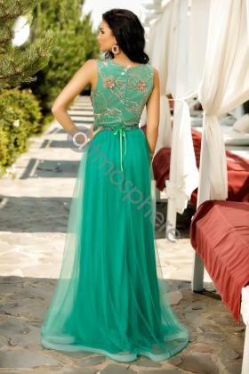 Rochie midi turquoise din satin Rn 2450 Rochie lunga eleganta din tul verde si broderie aurie Rn 1279v