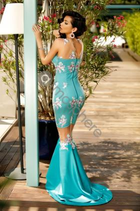 Rochie scurta turquoise Rn 1661 Rochie lunga turquoise cu broderie florala si tul nude la genunchi Rn 1368
