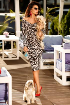 Rochie trei sferturi imprimeu animal print Rn 1475 Atmosphere-Fashion