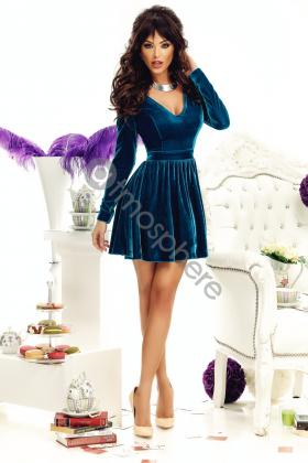 Promotii 50% Rochie scurta catifea turquoise Rn 1601