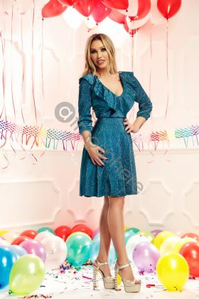 Rochie lunga argintie Rn 1388a Rochie midi din crepe turquoise Rn 1644