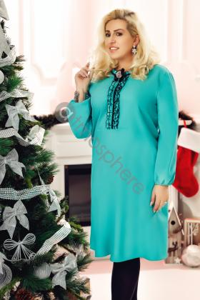 Rochie lunga de seara turquoise Rn 2078 Rochie midi turquoise cu volanase Rn 1623