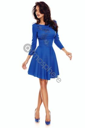 Sarafan bucle pastelat si piele ecologica Rn 1657 Rochie baby-doll albastra Rn 1656