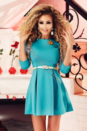 Rochie scurta turquoise Rn 1661
